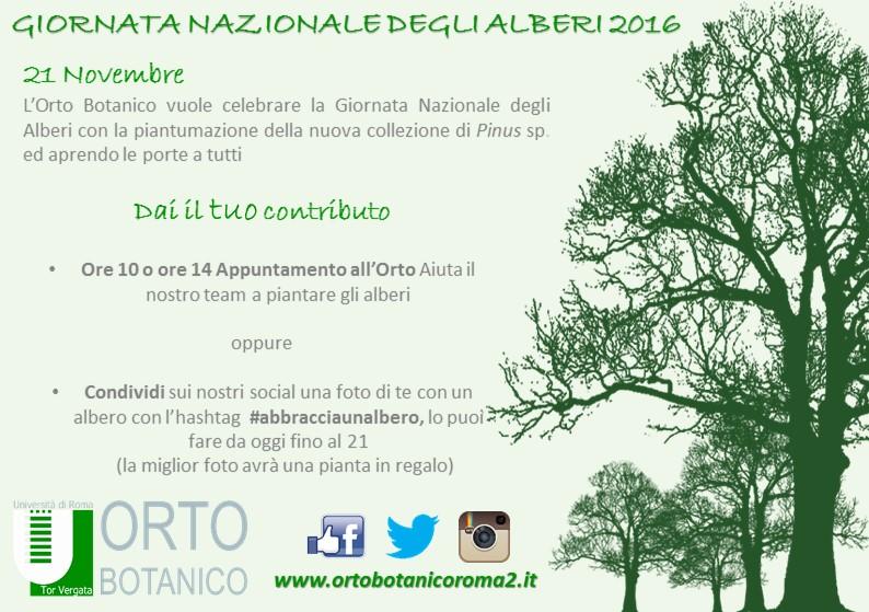 Giornata Nazionale degli Alberi 2016 all'Orto Botanico.