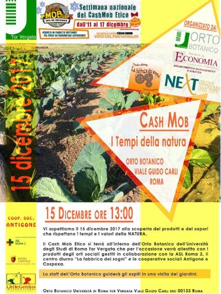 """Cash Mob Etico """"I Tempi della Natura"""": appuntamento il 15 Dicembre ore 13:00 presso Aula T3 della Facoltà di Economia Tor Vergata"""