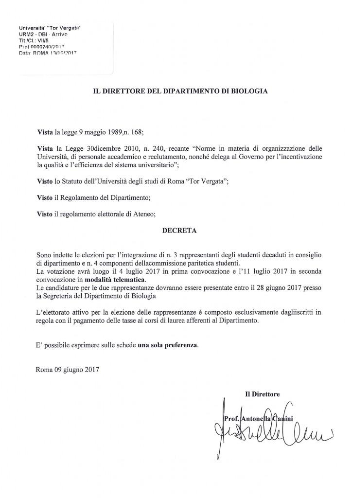 Decreto Direttoriale elezioni rappresenanti degli studenti nel Consiglio di Dipartimento e Commissione Paritetica