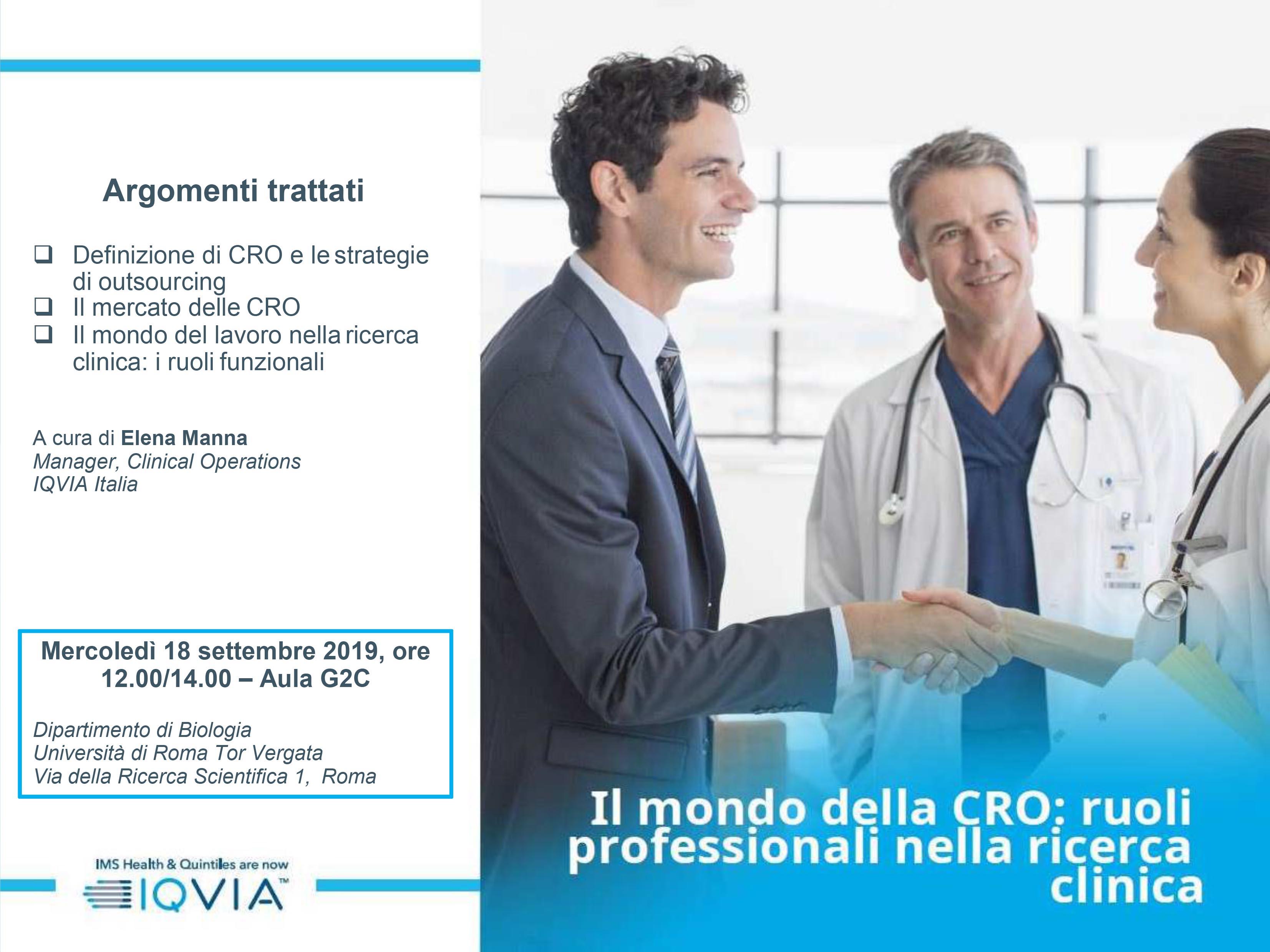 Locandina presentazione IQVIA - Uni Tor Vergata 18 settembre