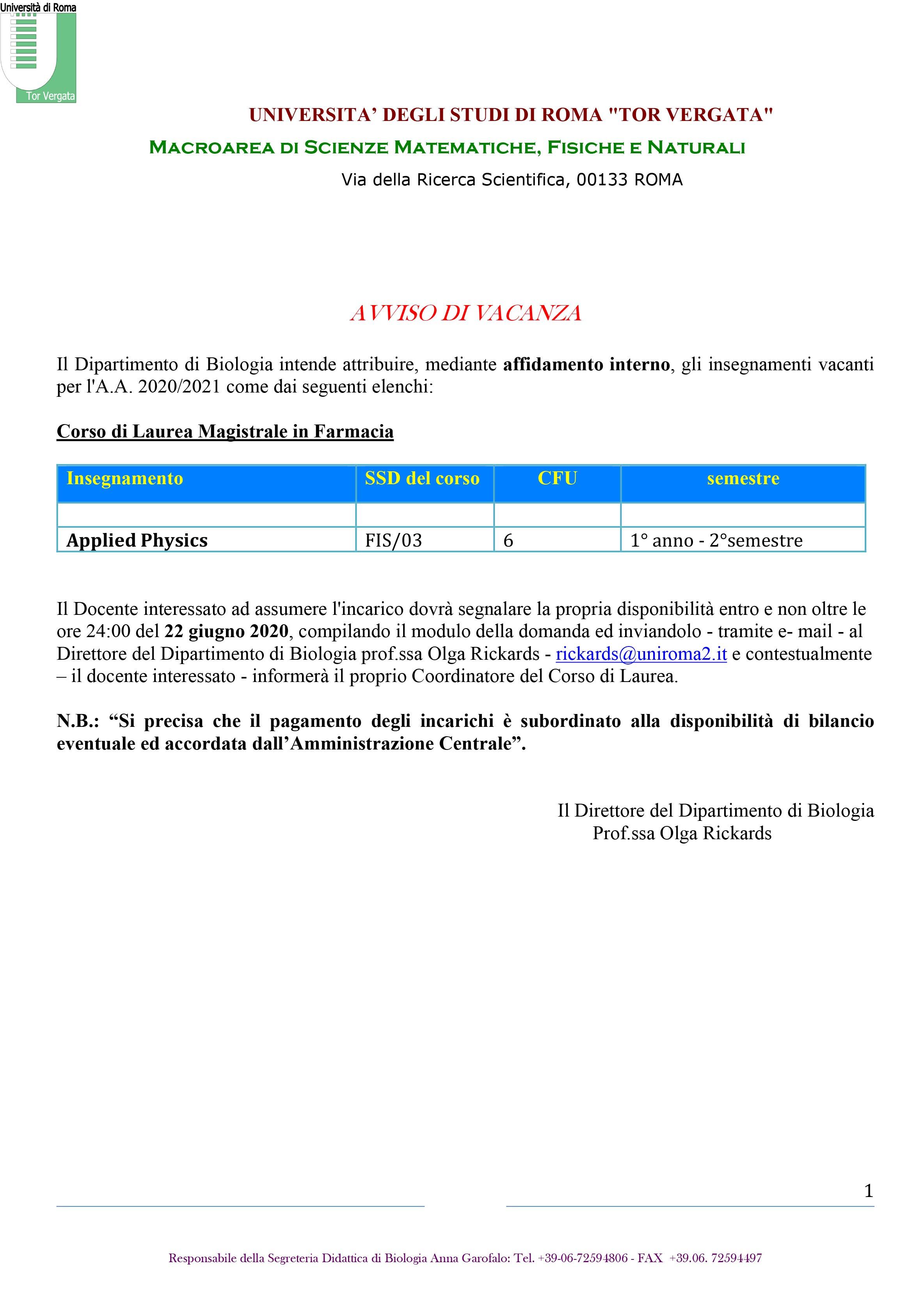 Microsoft Word - avviso di vacanza  2020-21 farmacia.docx